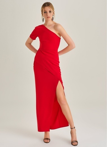People By Fabrika Tek Omuz Yırtmaçlı Elbise Kırmızı